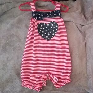 Other - Red White Blue Stars Heart Romper